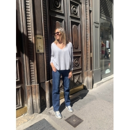 PULL ANGELE GRIS CHINE CLAIR